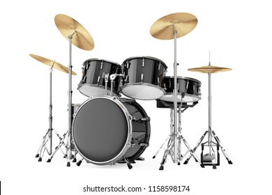 Professional Rock Black Drum Kit on a white background. 3d Rendering