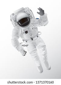 Professional spaceman in modern pressure suit with oxygen balon on back and tinted helmet isolated cartoon raster illustration white background.