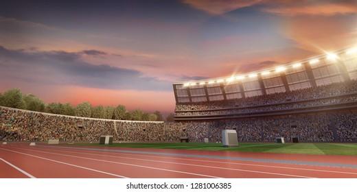Professional sport track and field athletics stadium. 3D illustration