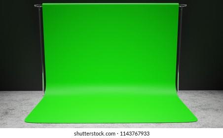 Professional studio green screen setup 3D render. Vignette version.