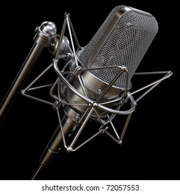 professional studio microphone isolated on a black background