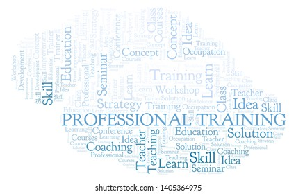 Professional Training word cloud. Wordcloud made with text only.