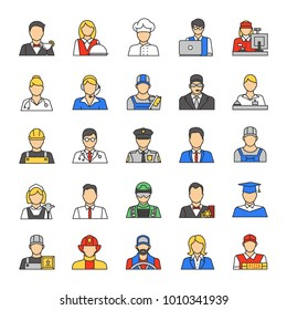 Professions color icons set. Occupation. Workers. Isolated raster illustrations