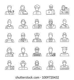 Professions linear icons set. Occupations. Workers. Thin line contour symbols. Isolated raster outline illustrations