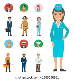 Professions people raster icons set. different profession cartoon characters in uniform with instruments and implements isolated on white. occupations flat illustration for labor day job concepts