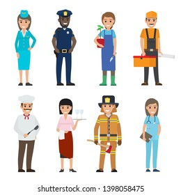 Professions people raster icons set. different profession woman and man cartoon characters in uniform with implements isolated on white. occupations flat illustration for labor day job concepts