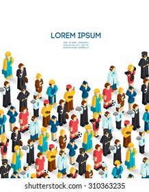 Professions poster with isometric avatars of engineer handyman waiter painter  illustration - Shutterstock ID 310363235