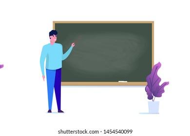 Professor or teacher standing near blank school blackboard. Vect