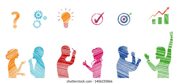 Profile colored stickman people gesturing. Concept problem solving team. Business solution. Strategy and success. Analysis and finding a solution to the problems. Client service