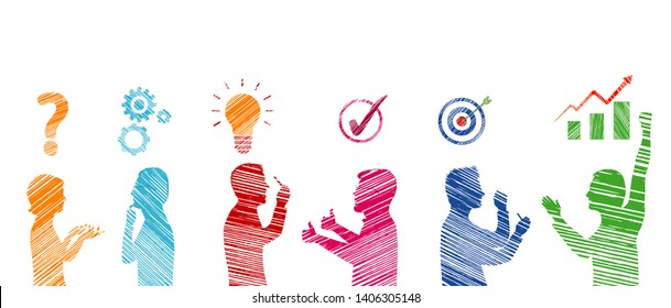 Profile colored stickman people gesturing. Business solution. Concept problem solving team. Strategy and success. Analysis and finding a solution to the problems. Client service