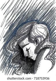 Profile of dark sad girl in tears, depression concept artwork