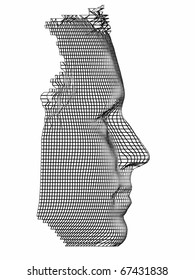 profile of human face in net or mesh structure