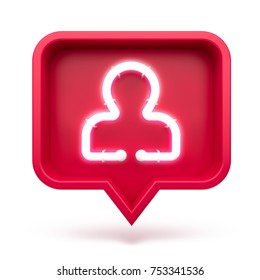 Profile icon on a red pin isolated on white background. Neon profile symbol. 3d render