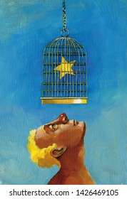 profile man looks up a star inside a cage allegory of unreachable desire surreal acrylic illustration