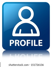 Profile (Member icon) glossy blue reflected square button