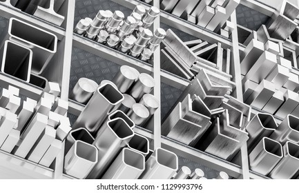 profile and metal bar 3d rendering image