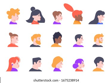 Profile people portraits. Face male and female profiles avatars, young people characters heads profile view isolated  illustration icons set. Multicultural women and men faces side view