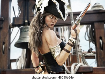 pirate with Sexy guns girls