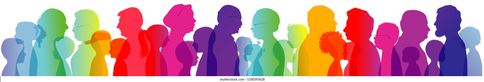 Profile silhouette with rainbow colors with group of grandparents and grandchildren. Dialogue or conversation between old people and children. Multiple exposure
