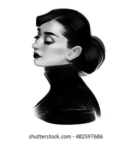 The profile of woman. Black and white illustration isolated on a white background.