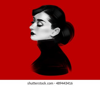 The profile of woman. Black and white illustration isolated on a red background.