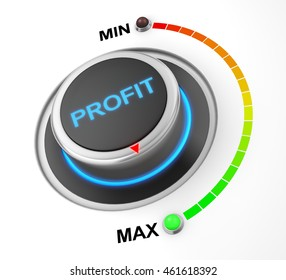 profit button position. Concept image for illustration of profit in the maximum position , 3d rendering
