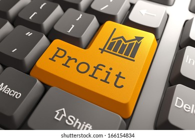 Profit with Growth Chart Icon on Orange Keyboard Button.