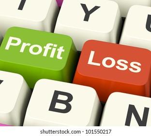 Profit Or Loss Keys Showing Returns For Internet Businesses