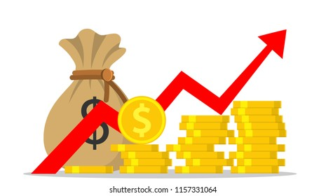 Profit money or budget, pile of cash and rising graph arrow up, concept of business success, economic or market growth, investment revenue. illustration in flat style Raster version.
