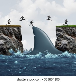 Profit from risk business concept as a group of businesspeople taking advantage of challenging market conditions as a people jumping on a shark fin as a bridge to success and opportunity metaphor.