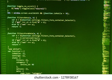 Program code - angle view Cyber space concept,  PHP development, software site code,  Template of website, selective focus,  Business, coding and Abstract computer concept