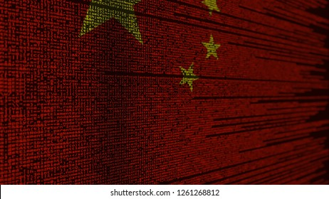 Program code and flag of China. Chinese digital technology or programming related 3D rendering