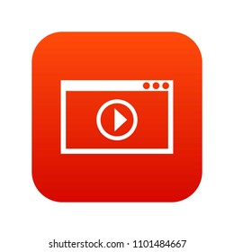 Program for video playback icon digital red for any design isolated on white illustration