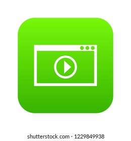 Program for video playback icon digital green for any design isolated on white illustration