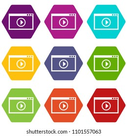 Program for video playback icon set many color hexahedron isolated on white illustration