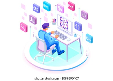Programmer and engineering development illustration. A developer of project team of engineers for website coding. Software programming, web agency, professional employee at laptop. Isometric.