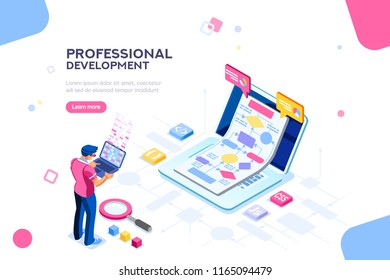 Programmer person and interactive technical software. Professional code for company concept with characters and text services. Flat isometric flowchart icons for infographic images illustration