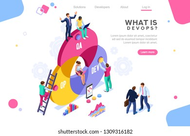 Programmer, user administrator, professional engine. Software support to build banner infographic. administration images flat technician concept, DevOps images.Isometric illustration.