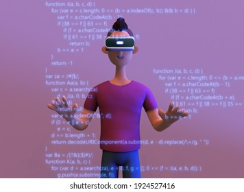 Programmer working in a software development company office with VR. Concept of script coding and programming in javascript. Trendy 3d illustration.