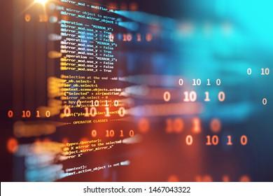 Code de programmation abstrait technologie arrière-plan du développeur de logiciels et de script Computer