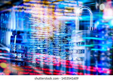 Programming code with combination lock and abstract technical background
