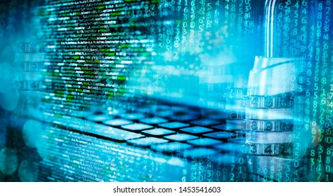 Programming code with combination lock, matrix, computer and abstract technical background in blue