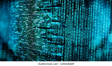 Programming code with matrix and abstract technical background in blue