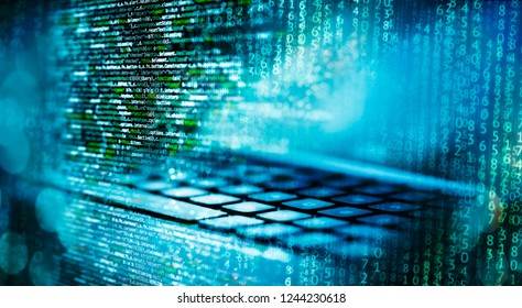 Programming code with matrix, computer and abstract technical background in blue