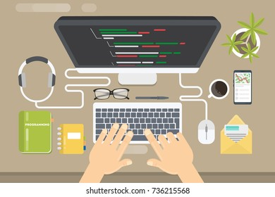 Programming concept illustration. Hands typing on the keyboard. Screen with code language.
