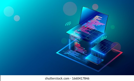 Programming, testing app on different devices. Creation software and coding internet pages for laptop, tablet, phone. Isometric. Development responsive web applications. Code of mobile website.