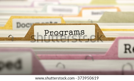 Programs - Folder Register Name in Directory. Colored, Blurred Image. Closeup View. 3d Render.