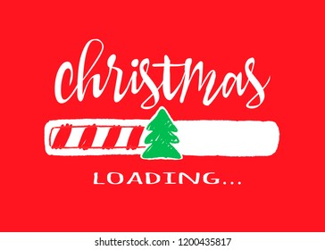 Progress bar with inscription - Christmas loading.in sketchy style on red background.  christmas illustration for t-shirt design, poster or greeting card.