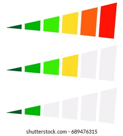 Progress bar, level indicator in perspective. 6-step progress bar with green, yellow, red colors. Progression, completion, buffer icon at different levels