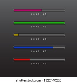 progress bar and loading different colors on black background